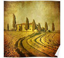 Vintage Tuscan landscape Poster