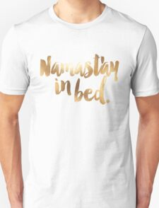 Namastay In Bed Gold & White T-Shirt