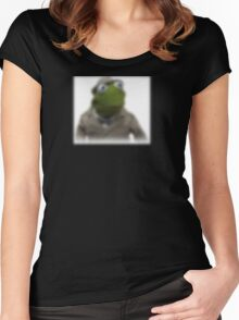 Blurred kermit reporter Women's Fitted Scoop T-Shirt
