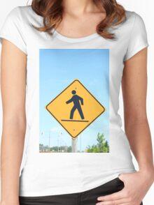 Crosswalk Sign Women's Fitted Scoop T-Shirt