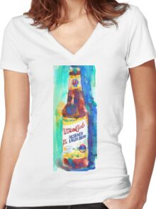 UTICA CLUB BEER Print from Original Watercolor Women's Fitted V-Neck T-Shirt
