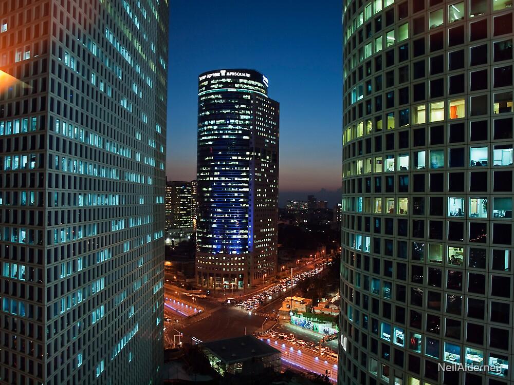 Tel Aviv buildings at night by NeilAlderney