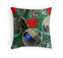World Christmas card Throw Pillow