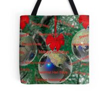 World Christmas card with greetings in many languages Tote Bag