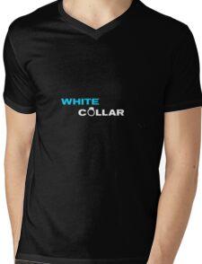 White Collar Logo Mens V-Neck T-Shirt