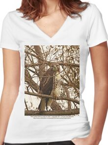 Red-Tailed Hawk as wise as Owl Women's Fitted V-Neck T-Shirt