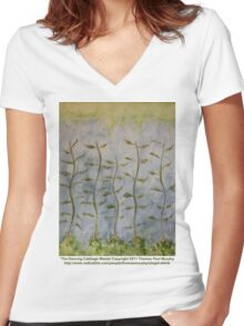 The Dancing Cabbage Weeds Women's Fitted V-Neck T-Shirt