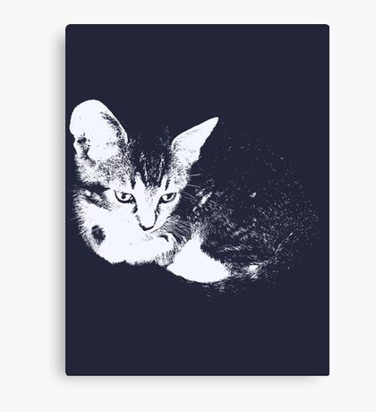 Furry Kitten - One Color Vector Canvas Print