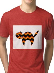 Halloween, Cat Silhouette, Animal Art, Chevron, Halloween Decor Tri-blend T-Shirt