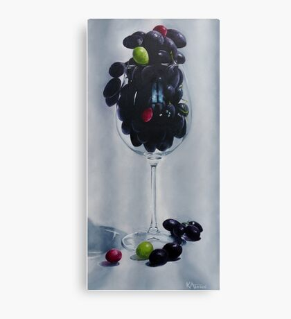 Grapes In A Wine Glass Canvas Print