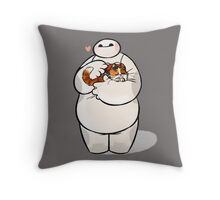Love baymax and hairy Cat Throw Pillow