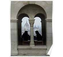 View of Parliament Buildings in Budapest, Hungary... silhouetted coffee drinkers Poster