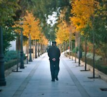 Pensive elderly man, taking a walk in the park near the gorge in Ronda, Spain by bethischeery