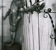 Medieval cast iron, swords and armor, Castle interior, Segovia, Spain (Black and White) by bethischeery