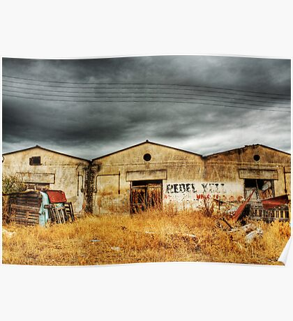 """Deserted """"Rebel Yell"""" Storehouses in a village Poster"""