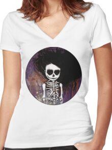 骸骨 壱 Women's Fitted V-Neck T-Shirt