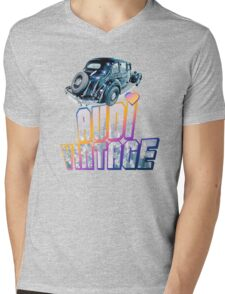 Black Vintage Audi car Mens V-Neck T-Shirt