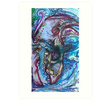 watercolor antique dinosaur Art Print