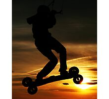 Kiteboarder flying through the Sunset. Photographic Print