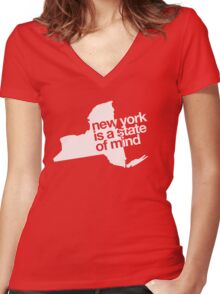 New York is a state of mind - Big - White Women's Fitted V-Neck T-Shirt