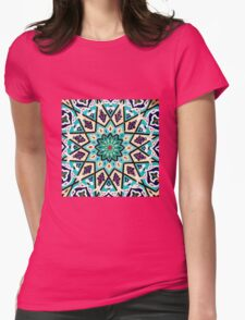 Square turquoise Mosaic Womens Fitted T-Shirt