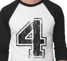 Bold Distressed Sports Number 4 Men's Baseball ¾ T-Shirt