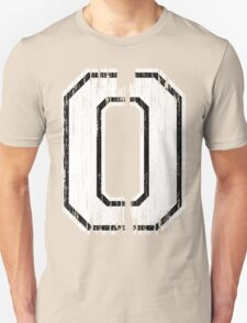 White Distressed Sports Number 0 Unisex T-Shirt