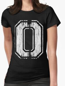 White Distressed Sports Number 0 Womens Fitted T-Shirt