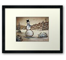 Snowman in Acrylic Framed Print