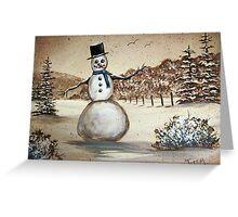 Snowman in Acrylic Greeting Card