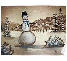 Snowman in Acrylic Poster