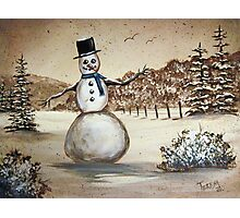 Snowman in Acrylic Photographic Print