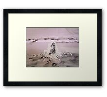 Small candle in a dark place Framed Print