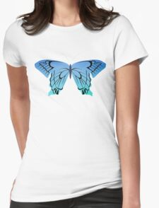 Blue butterfly drawing Womens Fitted T-Shirt
