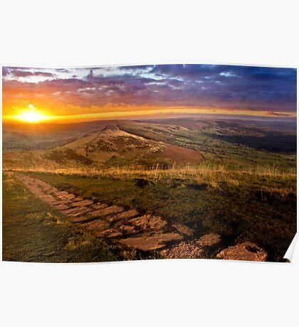 Sunrise On Mam Tor Derbyshire Poster