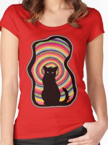 time for child stories: the BLACK CAT Women's Fitted Scoop T-Shirt