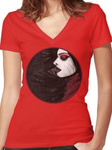 Sunk deep in the night...  Women's Fitted V-Neck T-Shirt