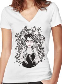 BONE ☠ COLLECTOR Women's Fitted V-Neck T-Shirt