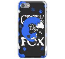 Crazy Like A Fox (Blue) iPhone Case/Skin