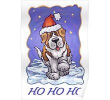 St. Bernard Christmas Card Poster