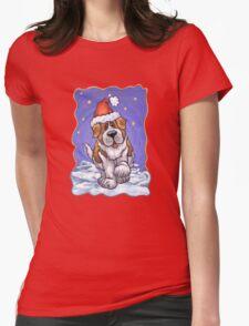 St. Bernard Christmas Womens Fitted T-Shirt
