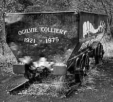 Parc Cwm Darran 9 Coal Trucks in Monochrome by Steve Purnell