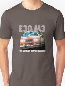 BMW E30 M3 DTM Racer (BASTOS) - White Text Unisex T-Shirt