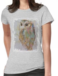 Owl Painting Womens Fitted T-Shirt