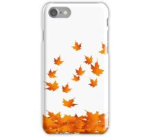 Autumn Leaves, Maple Leaf, Leaf Silhouette, Nature, Fall, Orange iPhone Case/Skin