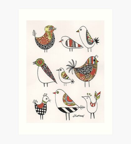 Chinese birds-origami paper Art Print