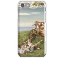 Welshie and his pups enjoy the garden iPhone Case/Skin