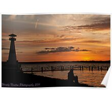 Alone Time - Young Girl Watching Sunset Poster
