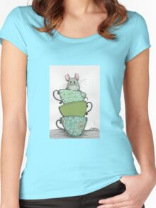 Peek-a-boo (mouse in teacup) Women's Fitted Scoop T-Shirt