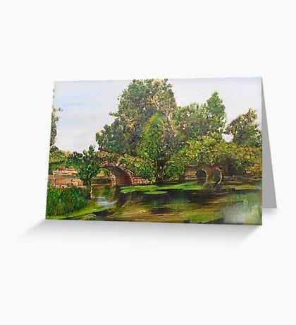 Warwick Castle's, Ancient Bridge. Warwickshire, England Greeting Card